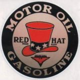 Vintage Race Sticker - Red Hat Motor Oil / Gasoline