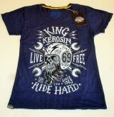 Watercolor-Shirt von King Kerosin blau / Live Free, Ride Hard