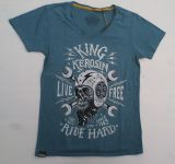 Watercolor-Shirt von King Kerosin Smokeblau/ Life Free-Ride Hard