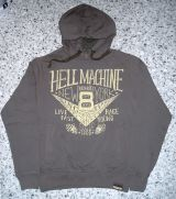 Used-Airbrush-Hoodie grau - V8 Hellmaschine