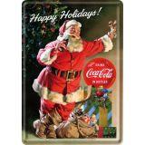 Blechpostkarte - Coca Cola / Happy Holidays Santa