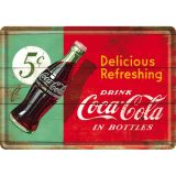 Blechpostkarte - Coca Cola / Delicious Refreshing Green