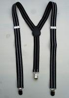Y - Hosenträger mit Clip - Schwarz mit 2 weissen Streifen