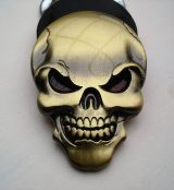 Skull 3D Metal Sticker - Bronce