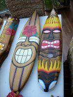 Tiki Holz Surfbrett - Tiki mit Flammen / Gross