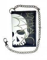 Rock Daddy Wallet with chain - Skull with Spiderweb