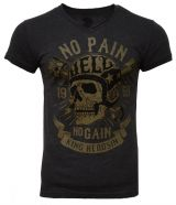 King Kerosin V-Neck T-Shirt - No Pain No Gain / melange Black