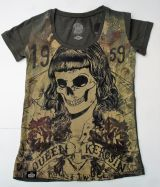 Queen Kerosin T-Shirt - Skull girl 59 / Oliv.