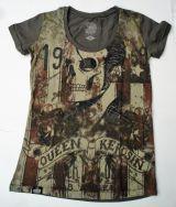 Queen Kerosin T-Shirt / Rock`n`Roll Skull - Oliv.