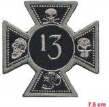 Patch - Cross, Skull ,13