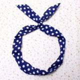 Fashion Headband /Hair Band - Blue with White Dots