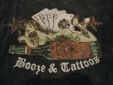King Kerosin V-Neck T-Shirt - Booze & Tattoos / black