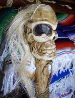 Classic Tiki Wood Paddel - Hawaii Totenkopf / mittel