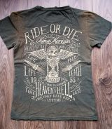 Used Airbrush Shirt von King Kerosin - Your Time is Running / Ride or Die / olive