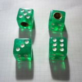 Air Valve Caps - Dice green clear