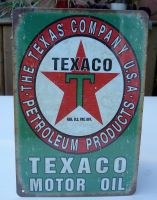 Retro Blechschild - TEXACO Motor OIL / Vintage Green