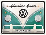 Blechschild klein - VW Bulli / Adventure Awaits