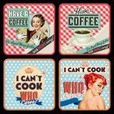 Nostalgie Blechuntersetzer - Say It 50`s Coffee & Cook