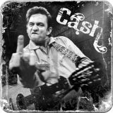 Nostalgie Blechuntersetzer - Johnny Cash / Finger