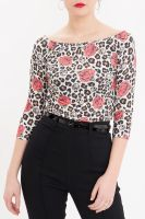 Queen Kerosin 3/4 Arm Carmen Shirt - Alloverprint Leo & Roses