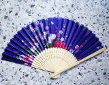 Fächer / Luftfächer - Blau / farbige Blumen