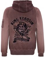 King Kerosin Gestickte Hoodie Jackets Oil Washed - Ride Hard - Live Fast / braun - Limited Edition