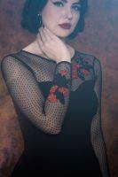 Pencil Kleid von QUEEN KEROSIN - Rosen / schwarz