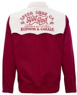 Gabardine Jacke im Vintage Look - Speed Shop CA. / Hot Rod - Weinrot