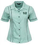 Ladies Shirt by Queen Kerosin - Short Sleeve Lapel Collar Blouse Racing Design: Motor Queen Service