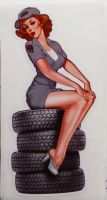 Pin up Sticker - Garage Girl on Tire