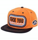 Snapback / Flat Cap von King Kerosin - Fuck you / orange-schwarz