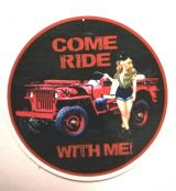 Pin up Sticker - Come Ride with me / klein