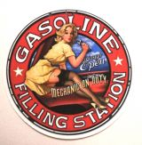 Pin up Sticker - Gasoline Filling Station Mechanic / klein
