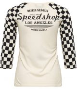 Queen Kerosin 3/4 Arm Shirt - Speed Shop / Vintage White