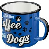 Emaille Tasse / Hot Coffee & Cool Dogs