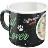 Emaille Tasse / Cat Lovers - black