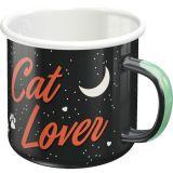 Emaille Tasse / Cat Lovers - black