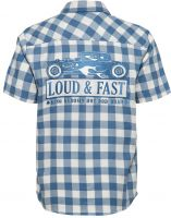 Karo Hemd Limited Edition von King Kerosin - Loud & Fast / Steelblue-Offwhite