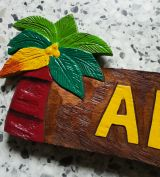 Tiki Holz Schild - Aloha / Palmen