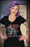 Rumble59 Girls V-Neck T-Shirt / Hot Rod Betty`s Speed Shop