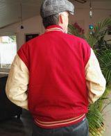 Baseball Leder Jacket - Blanko / Rot