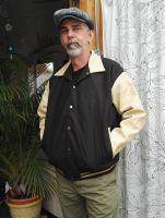 Baseball Leder Jacket - Blanko / Dunkelgrün-marzipan