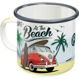 Enameled Mug / VW Bulli - Beach