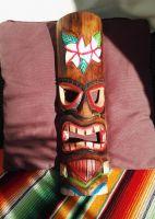Tiki Holz Masken / Medium - Tiki Nr. 7 / farbig