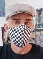 Stoff Maske - Karo Muster schwarz/weiss
