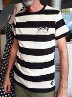 King Kerosin T-Shirt - Kustoms & Garage / schwarz-weiss gestreift