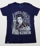 Batik Vintage Shirt - I hate the Disco / the King - dunkel Blau