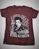 Batik Vintage Shirt - I hate the Disco / the King - braun