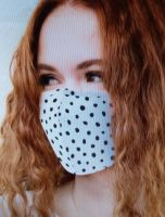 Cotton Mask - White / black Dots with 2.Filter