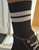 Socken - Schwarz / weisse Streifen